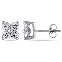 Miabella 1.80 Carat T.G.W. Created White Sapphire 10 K White Gold Stud Earrings