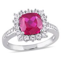 Tangelo 3.60 Carat T.G.W. Created Ruby and Created White Sapphire Diamond-Accent Sterling Silver Halo Ring 6
