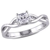 Miabella 0.38 Carat T.G.W. Created White Sapphire and Diamond Accent Sterling Silver Cross-Over Promise Ring 6.5