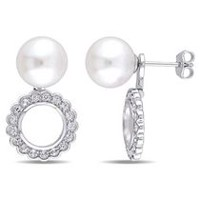 Miabella 8-8.5mm Cultured Freshwater Pearl and 1 Carat T.G.W. White Topaz Sterling Silver Two-In-One Earrings