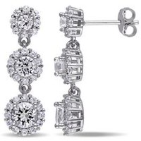 Miabella 3.40 Carat T.G.W. Created White Sapphire Sterling Silver Multi-Flower Drop Earrings