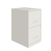 Space Solutions 18 inch 2 Drawer Metal File Cabinet, Pearl White