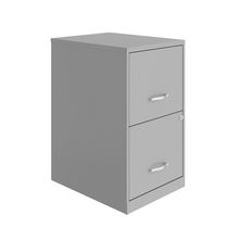 Space Solutions 18 inch 2 Drawer Metal File Cabinet, Arctic Silver