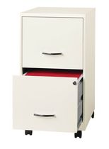 """18"""" 2 Drawer Mobile Smart Vertical File Cabinet, Pearl White"""