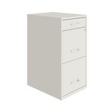"18"" Deep 3 Drawer Metal Organizer File Cabinet with Pencil Drawer, Pearl White"
