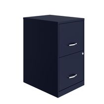 Space Solutions 18 inch 2 Drawer Metal File Cabinet, Navy
