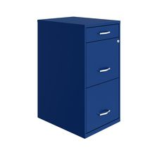 """18"""" Deep 3 Drawer Metal Organizer File Cabinet with Pencil Drawer, Classic Blue"""