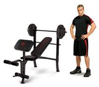 IMPEX Marcy MKB-2081 Standard Bench with 80 lb Weight Set