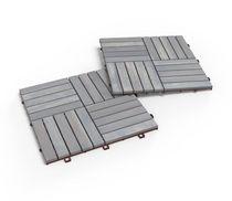 Acacia Wood Deck Tiles pack of 10 tiles; Dusk Grey by Interbuild