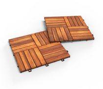 Acacia Wood Deck Tiles, pack of 10 tiles in a Golden Teak color by Interbuild.