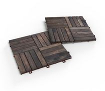 Acacia Wood  Deck Tiles by Interbuild Canada a pack of 10 tiles with each tile 12 x 12in in an espresso color.