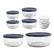 Anchor Hocking 16pc Round Glass Food Storage Box Set with Navy lids