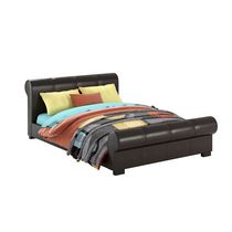 CorLiving San Antonio Scrolled Leatherette Bed Double