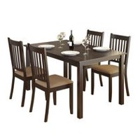 CorLiving DRG-795-Z Atwood Dining Set with Beige Microfiber Seats