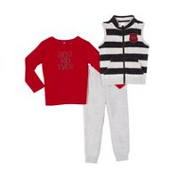 George Toddler Boys' 3-Piece Vest & Jogger Outfit Red 3T