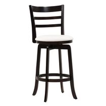 "CorLiving DWG-499-B Woodgrove Three Bar Design 43"" Wooden Barstool in Espresso and Cream Leatherette"