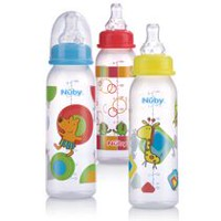 Nuby Standard Neck Printed Bottle - 3 Pack Yellow/blue/red