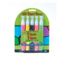 Scribbles Dimensional Fabric Paint 5 Pack Pens Neon