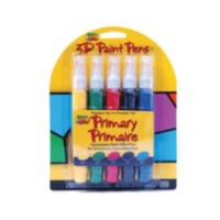 Scribbles Dimensional Fabric Paint 5 Pack Pens Primary