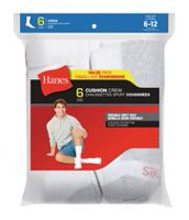 Hanes Mens cushion Crew Sock - 6 pairs White