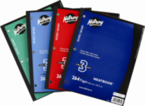 Hilroy Neatbooks®, 3 subject , 10-½ x 8, 264 Page Assorted Colours