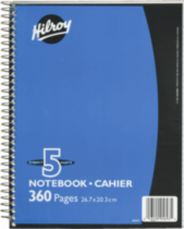 Hilroy Coil Notebook with Margin, 5 subject , 10-½ x 8, 360 Pages, Assorted Colours