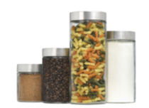 4 Piece Calistia Cylinder Glass Jars with Stainless Steel Lids