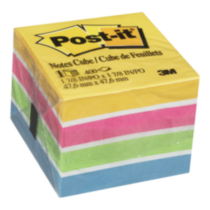 Feuillets Post-it, bandes de couleurs néon, 2 x 2 po