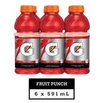 Gatorade Fruit Punch Sports Drink, 591mL Bottles, 6 Pack