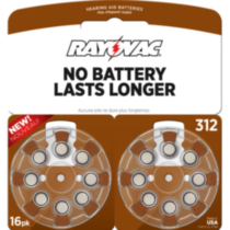 Rayovac Size 312 Hearing Aid Batteries - 16 pack
