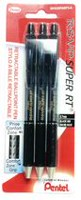 Pentel Retractable Super Black Ballpoint Pens