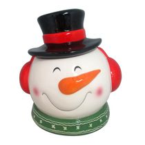 Holiday Time Snowman Head Cookie Jar