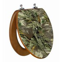 TopSeat High Res 3D Image Camouflage Elongated Regular Lid Closure Chromed Metal Hinges Toilet Seat