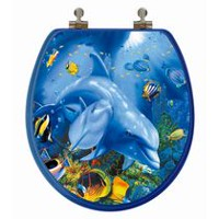 TopSeat High Res 3D Image Dolphin Family Round, Regular Lid Closure Chromed Metal Hinges Toilet Seat