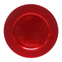 Holiday Time 13'' Red Hammered Rim Charger Plate