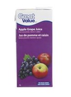 Jus de pomme et raisin de Great Value