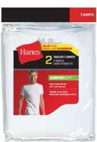 Hanes Men's Tagless T-Shirts, Pack of 2 L
