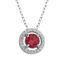 PAJ Sterling Silver July Birthstone Halo Pendant