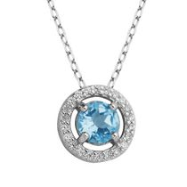PAJ Sterling Silver March Birthstone Halo Pendant