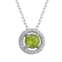PAJ Sterling Silver August Birthstone Halo Pendant