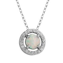 PAJ Sterling Silver October Birthstone Halo Pendant