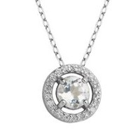 PAJ Sterling Silver April Birthstone Halo Pendant
