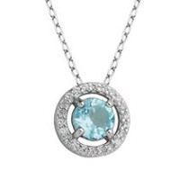 PAJ Sterling Silver December Birthstone Halo Pendant