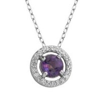 PAJ Sterling Silver February Birthstone Halo Pendant
