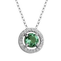 PAJ Sterling Silver May Birthstone Halo Pendant