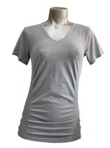 Athletic Works Seamless Ruched V-Neck Tee Shirt with Short Sleeve and Fashion Ruching Light Grey L/G