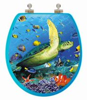 TopSeat High Res 3D Image Sea Turtle Round Regular Lid Closure Chromed Metal Hinges Toilet Seat