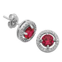 PAJ Sterling Silver July Birthstone Halo Earrings