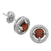 Paj Sterling Silver January Birthstone Halo Earrings