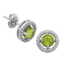 PAJ Sterling Silver August Birthstone Halo Earrings